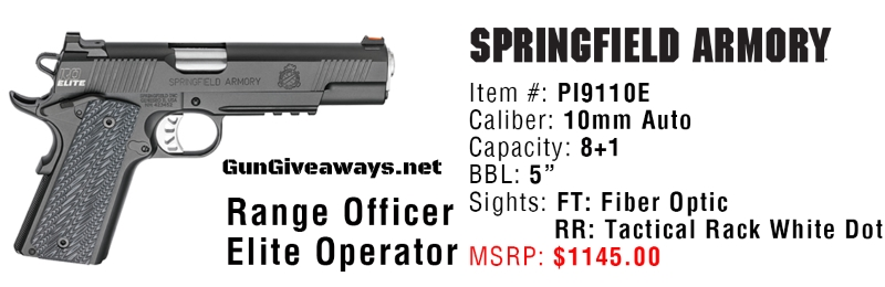 Springfield Range Officer Elite Operator 10mm 1911 Pistol Giveaway